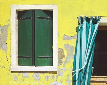 Italy Photography Print, Italian Wall Art, Rustic Wall Decor, Burano Italy Building, Yellow Teal Art, Horizontal Travel Print