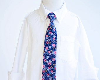 Necktie, Neckties, Boys Tie, Baby Tie, Baby Necktie, Wedding Ties, Ring Bearer, Baby Shower Gift, Rifle Paper Co - Rosa In Navy