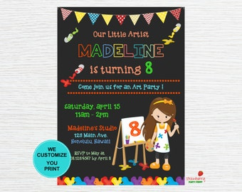 Painting Party Invitation, Art Birthday Party Invitation, Little Artist Invitation, Art Painting Invite, Party Printables