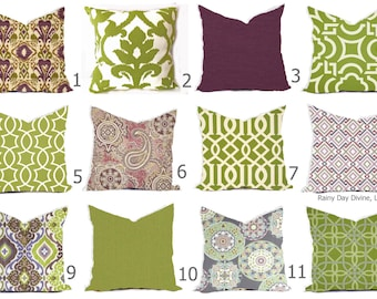 Outdoor or Indoor  Custom Pillow Covers - Green Olive Grass Bay Ivory Purple Plum Lilac Lavendar Modern Tribal Quatrefoil Ikat 18x18, 16x16