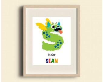 Letter S Art, Custom Monster Letter Art, Nursery Alphabet Art, Alphabet Letter Prints, Letter Art, ABC Wall Art
