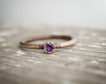 Amethyst copper ring / natural faceted gemstone / Birthstone ring / festival / unique piece