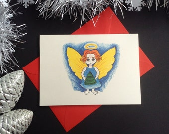 """Set of 6 """"Little Angel"""" Christmas cards. Hand made card. Angel illustration. Illustrated cards. Hand drawn cards. Winter greeting cards."""