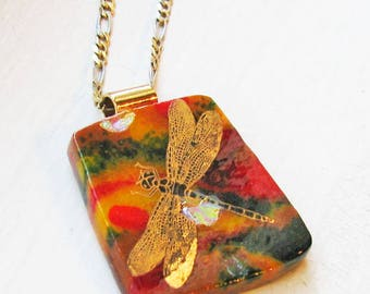 Golden Red & Dichroic Dragonfly - Fused Glass Pendant / Necklace