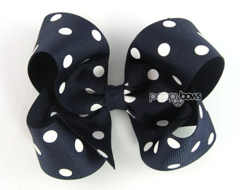 Girls Hair Bows - navy blue hair bow polka dot - 4 inch hair bows - big hair bows - boutique bows, large hair bows - girl hairbows, non slip