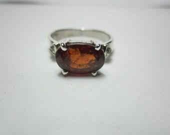 natural hessonite garnet and diamond ring, GOOD LOOKING