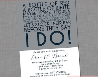 Stock the Bar Invitation WeddingBridal Invitation