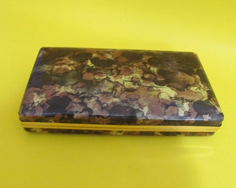 Vintage Mele Jewelry Case Hardside Clam Shell Holder Travel Box Brown Camo Earring 1970