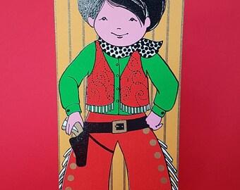 Original unused 1970s vintage greeting card | Howdy Partner | Cowboy | Boys birthday | For him