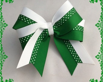 Beautiful White and Green with Tiny Dots in the middle and White Glitter Center Hairbow