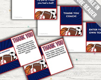 Sports Thank You Cards (Ideal As A Thank You Coach Card, For Birthdays Or For Baby Showers). Add Your Own Text. Instant Download.
