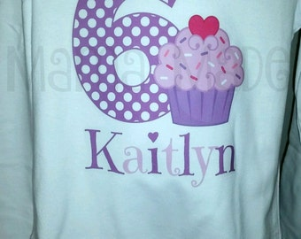 Purple Cupcake Birthday Shirt or bodysuit Cupcake Birthday Shirt Birthday Cupcake Shirt Cupcake Size 12 mo 18 mo 24 mo 2t 3t 4t 5 6 8 10 12