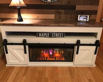 Barn Door Fireplace Console (Free Shipping)
