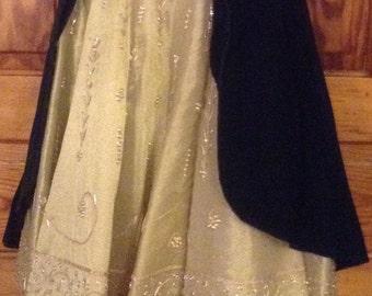 Girls green velvet & gold princess costume
