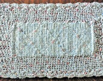"Rag Rugs, Shabby Chic Rug, 42"" Crocheted Fabric Rug, Table Runner, Trivets, Handmade Rug, Cottage Rug, Elegant Rug, White Rug, Pale Blue Rug"