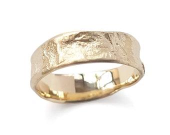 Matte 14K gold band, Textured wedding ring, Durable ring, Rustic band, 14K gold band, handmade band, Men Woman Organic ring, Matching bands