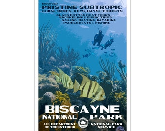 "Biscayne National Park WPA style poster. 13"" x 19"" Original artwork, signed by the artist. Free Shipping !"
