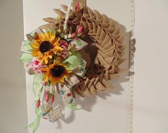 Sunflower Burlap Petals New Hand Made Wreath