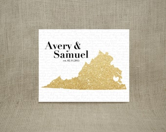 Special Song & State Personalized Sparkly Gold Print (UNFRAMED)  - Makes a wonderful wedding, anniversary, engagement or housewarming gift!