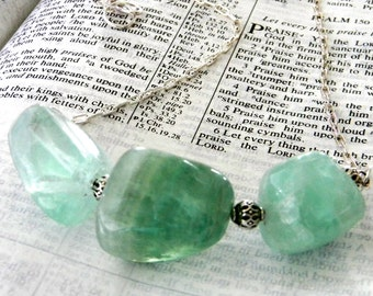 Green Flourite Nugget Chain Necklace 18 Inch Lobster Clasp