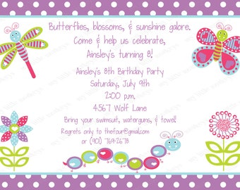 10 Pretty Bugs Birthday Invitations with Envelopes.  Free Return Address Labels