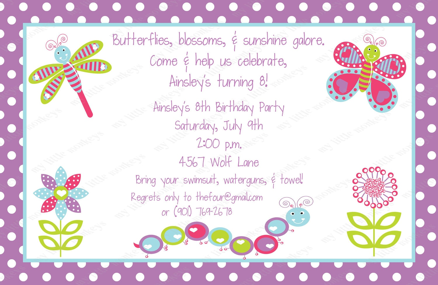 10 pretty bugs birthday invitations with envelopes free zoom stopboris Image collections
