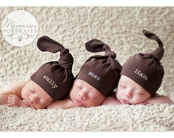 Triplet Baby Hats -  Personalized Embroidery on American Apparel Knot Hats - FREE SHIPPING