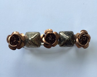 Brown Metal Flower Pyramid French Barrette, for weddings, parties, special occasions