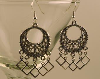 Open-diamond silver chandelier earrings, #0548