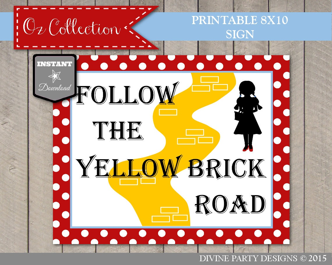 INSTANT DOWNLOAD Wizard of Oz Follow The Yellow Brick Road