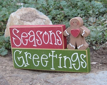 SEASONS GREETINGS BLOCKS with a gingerbread man for Christmas, desk, shelf, mantle, holiday, December, xmas, noel, home decor