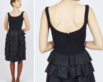 Vintage 50s 60s LBD Little Black Tiered Ruffle Skirt Party Dress | Small