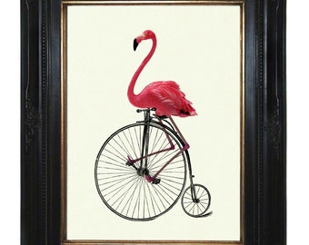 Pink Flamingo Art Print riding Bike Unicycle Penny Farthing Victorian Steampunk Art Print Nursery Bird