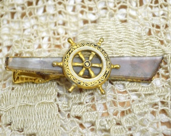 Vintage Tie Bar Clip - Spanish Damascene Toledo Ware - Nautical Ships Wheel Motif - Gold Plated - Lever Clip Fitting - Gift Boxed