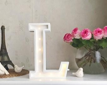 Marquee letter L Letter lights L alphabet lights Marquee letters Nursery light Wooden letters Night light Kids lamp