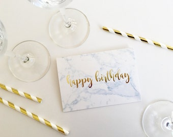 Marble Happy Birthday Card with Gold Foil Lettering