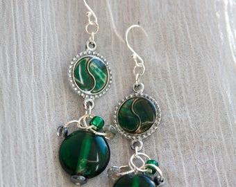 Green Yin-Yang Earrings