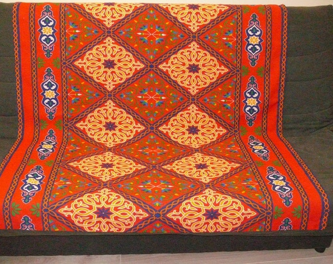 Egyptian tablecloth khayameyya red fabric with lotus flowers arabesque produced ethnic ramadan Chair throw or wall decoration