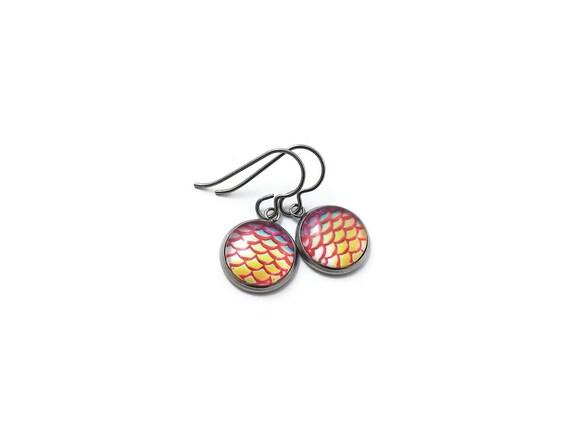 Tangerine mermaid dangle earrings - Hypoallergenic pure titanium, stainless steel and glass jewelry