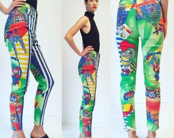 30%OFF Vtg Gianni Versace Jeans Couture 1995. Jazz Age New York Print Jeans