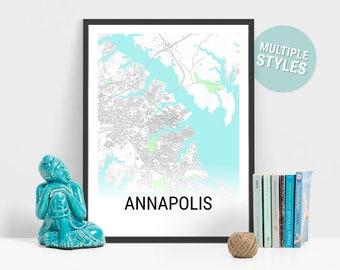 Annapolis Map Print, Maryland, USA, City Map, City Map Print, Travel Map, Map Art, Map Poster, Wall Art, Home Decor, Modern, Minimalist