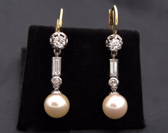 Pearl Diamond Gold Earrings earrings with pearls bright pendant in 18k gold