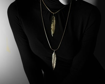 Large leaf gold plated necklace