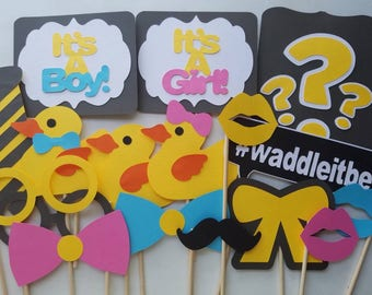 Gender Reveal Photo Booth Props, Waddle it Be Props, Waddle it Be (1 set of 17) - Updated