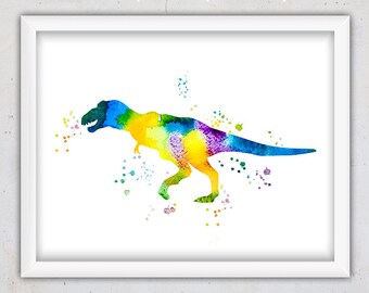 Watercolor Trex Nursery Print, Tyrannosaurus Rex Wall Art, Kids Print, Instant Download Dinosaur Print, Animal Wall Art Print, Girl, Digital