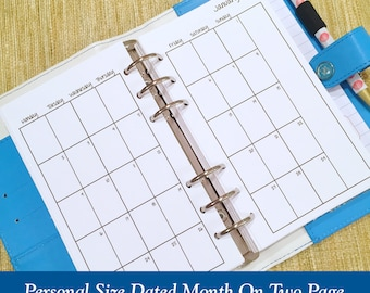 Personal Size 2018 Individual Month On Two Page Planner Inserts