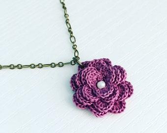 Hyde Park Crochet Necklace in Grape, Spring Flowers, Crochet Flower, Purple Flower Pendant, Gift Under 30, Boho Style, Mother's Day Gift