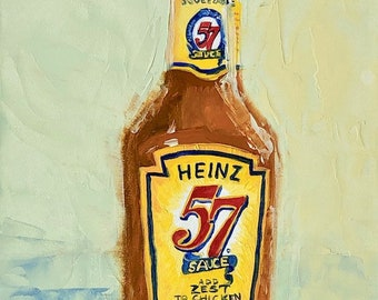 "HEINZ 57 Sauce small ORIGINAL oil painting by Karen Barton 7""x5"""