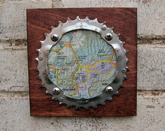 "6""x6"" Recycled Bicycle Chainring Telluride/Ouray Plaque"