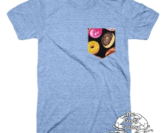Donuts Pocket Shirt | Pocket Shirt | Pocket Unisex | Pocket Tshirt | Womens Pocket Tee | Mens Packets Tshirt | Pocket Tee